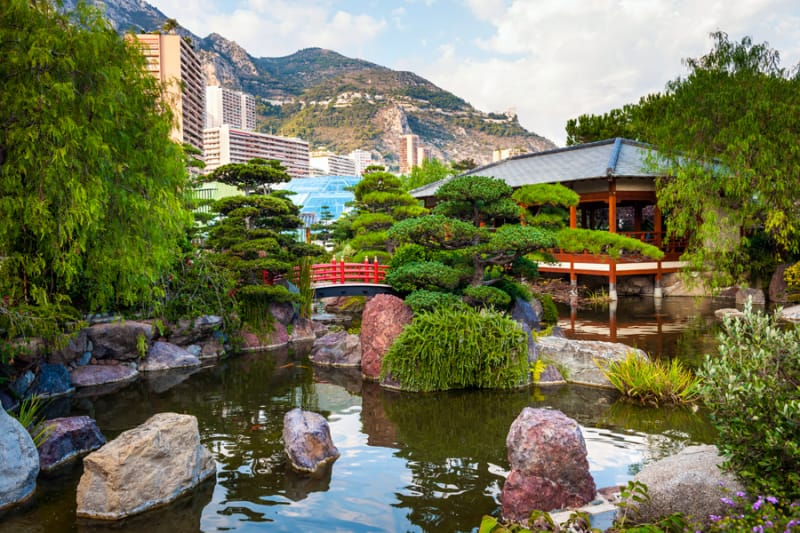 鯉が泳ぐ池もある 日本庭園