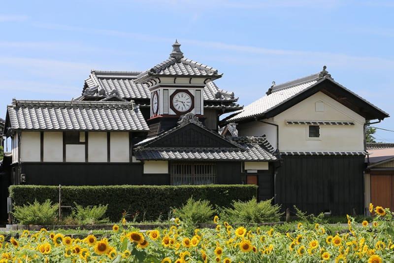 向日葵と120年時を刻んだ時計台