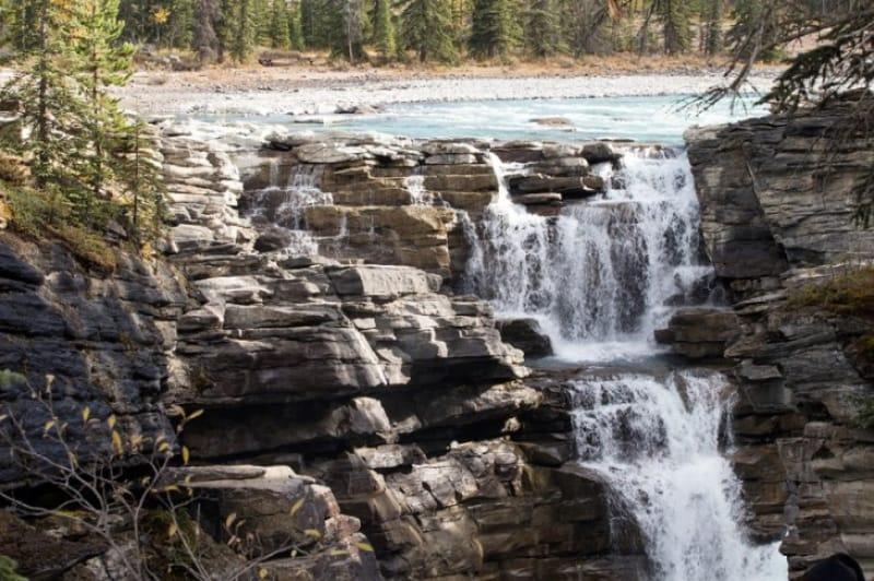 ジャスパー国立公園のアサバスカ滝