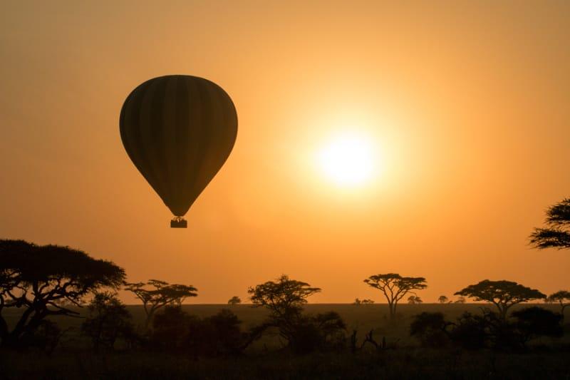 気球に乗って早朝の空の旅