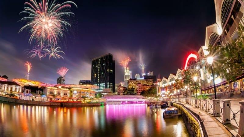 シンガポールの夜に咲く花