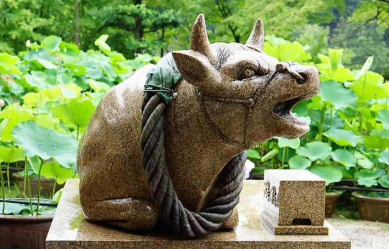 狛犬ならぬ狛牛、狛うさぎ、狛蛇?