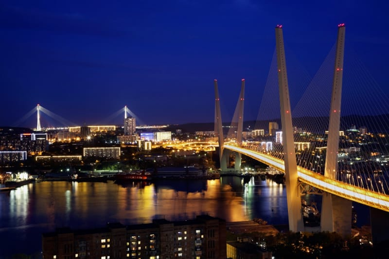 ウラジオストクの街全体を眺められる金角湾