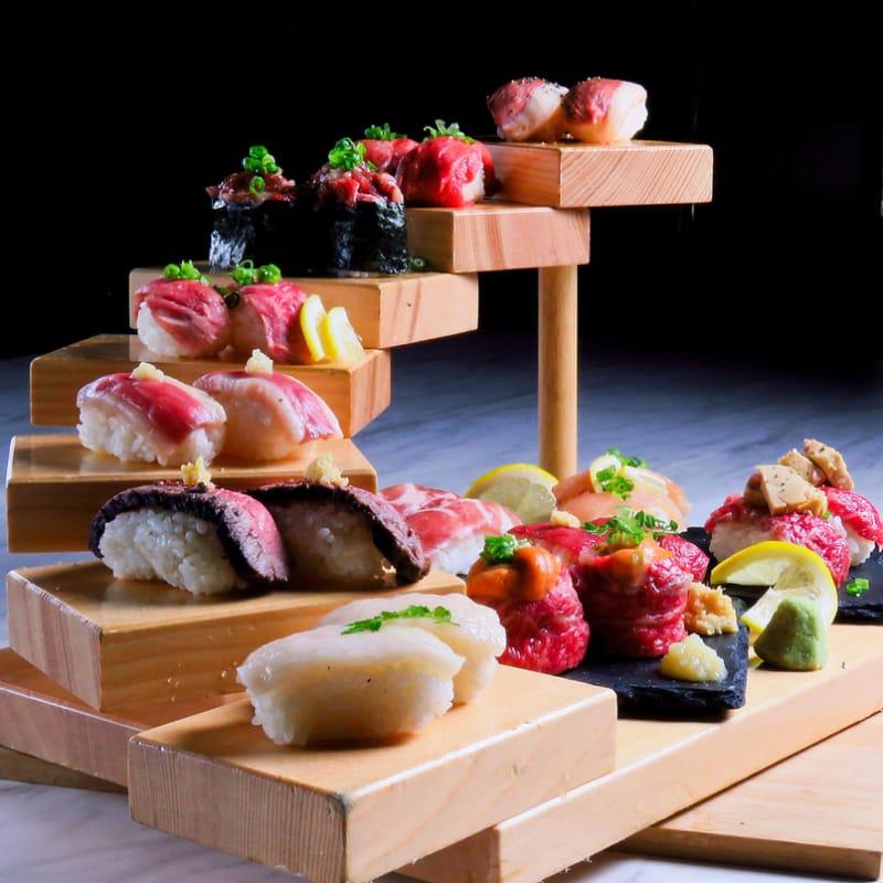個室で炙り肉寿司を喰らう 今昔物語 栄店