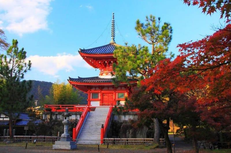美しい心経宝塔と大沢池