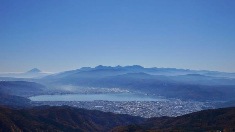 高ボッチ頂上から望む富士山