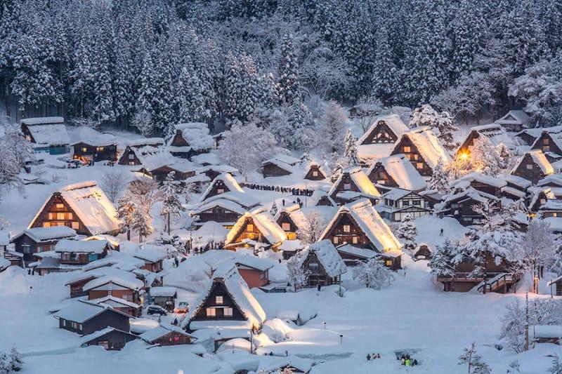 雪の中に灯る温かな光が美しい冬の